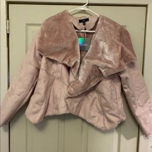 Blush waterfall shearling coat